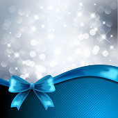 Silver background with blue bow