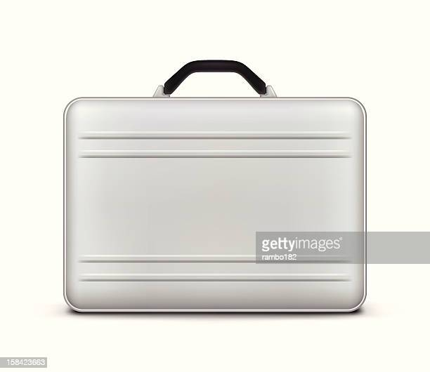 silver briefcase icon - silver metal stock illustrations, clip art, cartoons, & icons