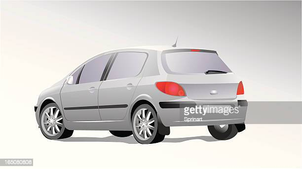 a silver car cartoon on a white background - hatchback stock illustrations, clip art, cartoons, & icons