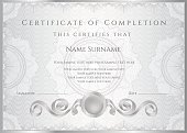 Silver Certificate / Diploma (template). Award background design (guilloche pattern, frame)