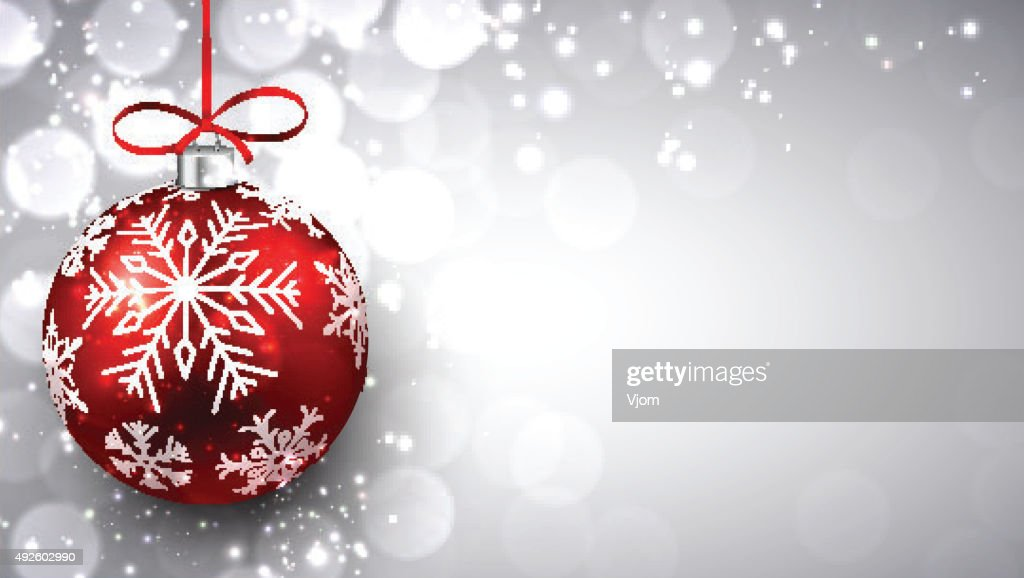 Silver christmas background with red ball