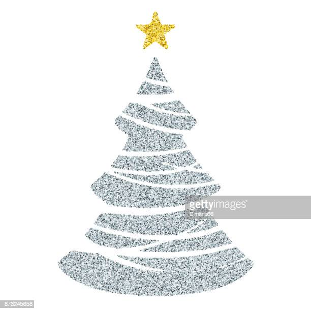 Silver Christmas tree icon - Glitter vector Christmas Ornament on white background