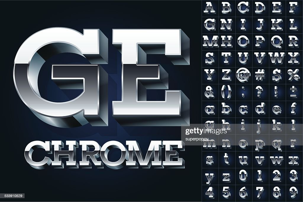 Silver chrome or aluminum 3D alphabet