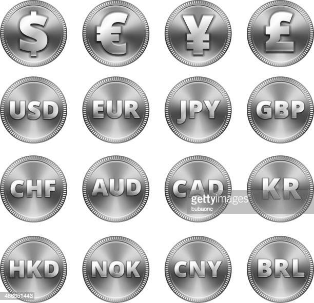 silver coin buttons set - fiscal year stock illustrations