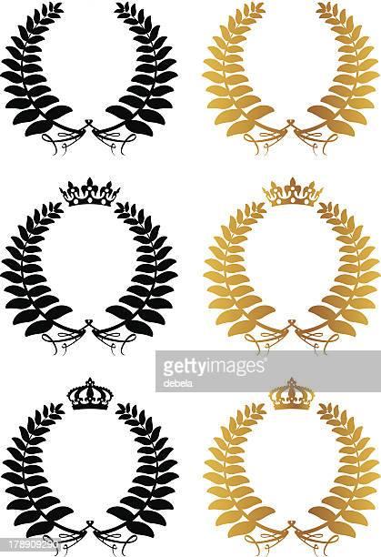 silver fern laurel wreaths with crowns - diadem stock illustrations