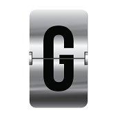 Silver flipboard letter g - departure board