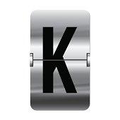 Silver flipboard letter k - departure board