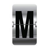 Silver flipboard letter m - departure board