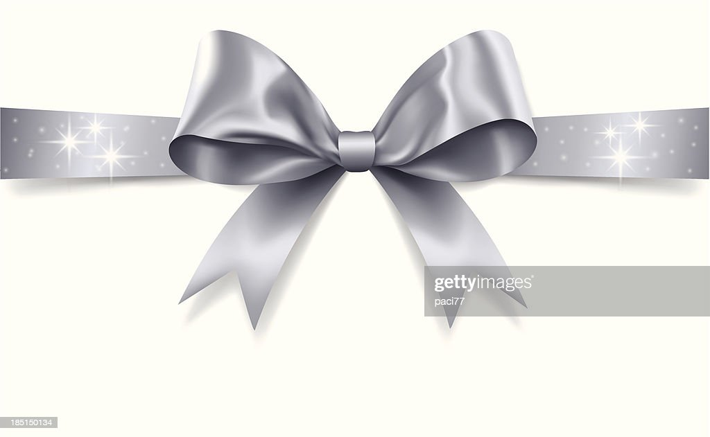 Silver Gift Bow Vector Art | Getty Images  Silver Gift Bow...