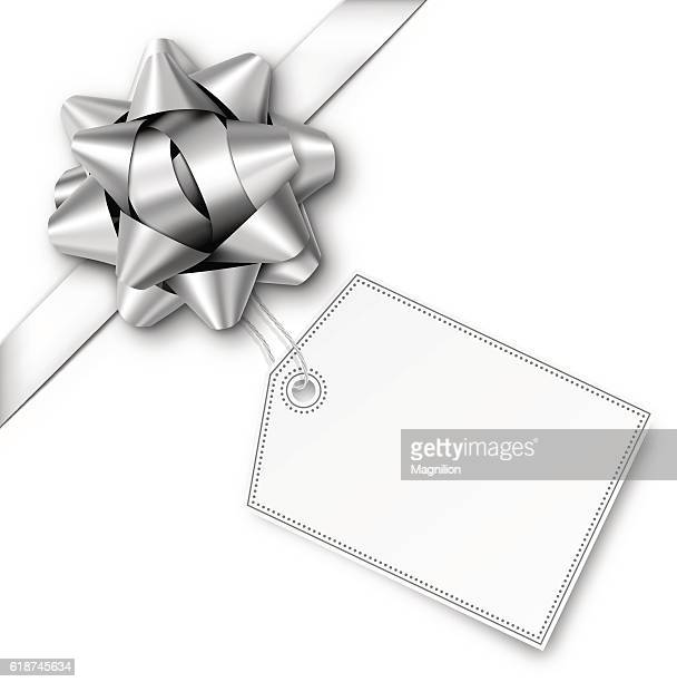 Silver Gift Bow with Ribbon and Tag