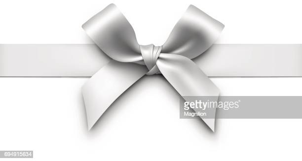 silver gift bow with ribbon - white stock illustrations