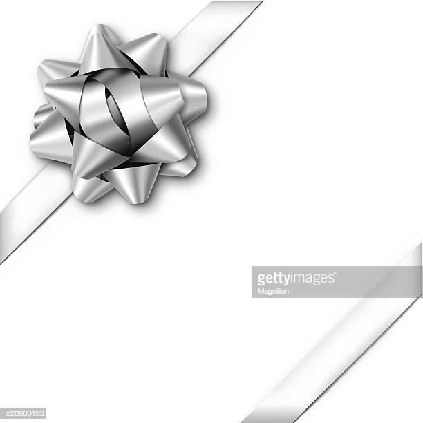 ilustraciones, imágenes clip art, dibujos animados e iconos de stock de arco de regalo plata con cintas - cajaderegalo