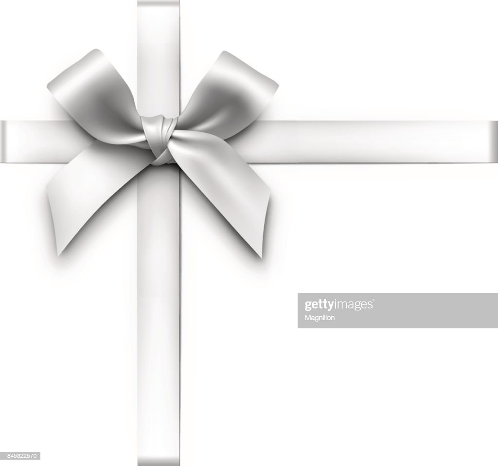 Silver Gift Bow with Ribbons : stock illustration