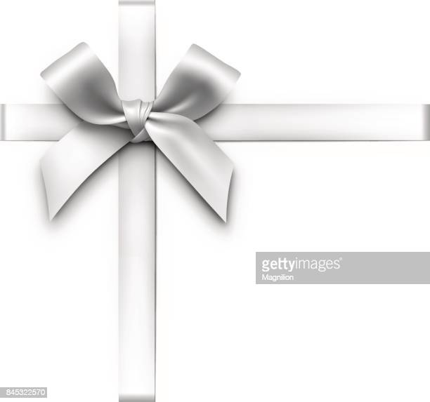 silver gift bow with ribbons - white stock illustrations