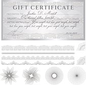 Silver Gift certificate (voucher / coupon) guilloche pattern (banknote, currency, check)