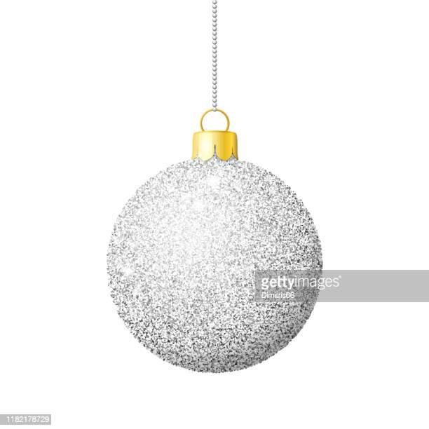 stockillustraties, clipart, cartoons en iconen met zilveren glitter glanzende kerst bal - zilverkleurig