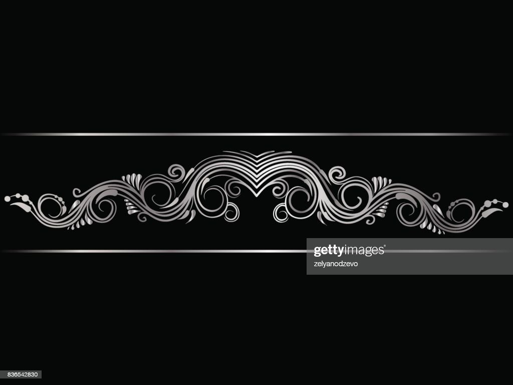 Silver indian line art border