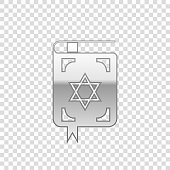 Silver Jewish torah book isolated object on transparent background. The Book of the Pentateuch of Moses. On the cover of the Bible is the image of the Star of David. Flat design. Vector Illustration