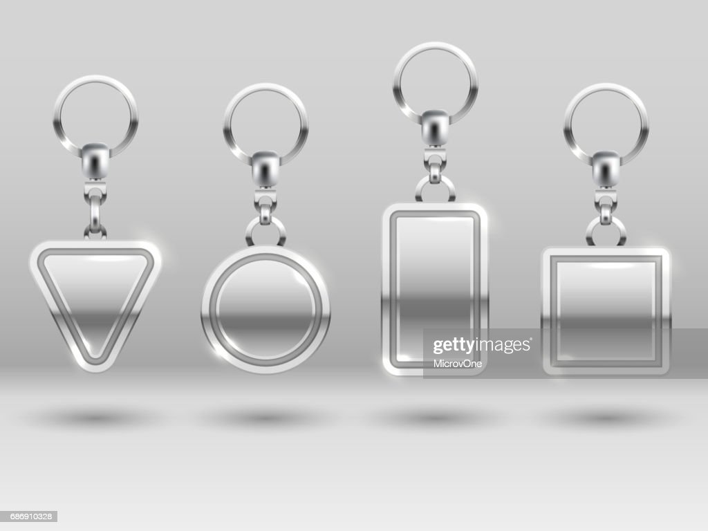 Silver keychains in different shapes for house door vector templates