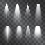 Silver light projector beams set. Glowing stage illumination isolated on  transparent background.  Show scene soffits to focus attention. Performance soffits for banners, posters.