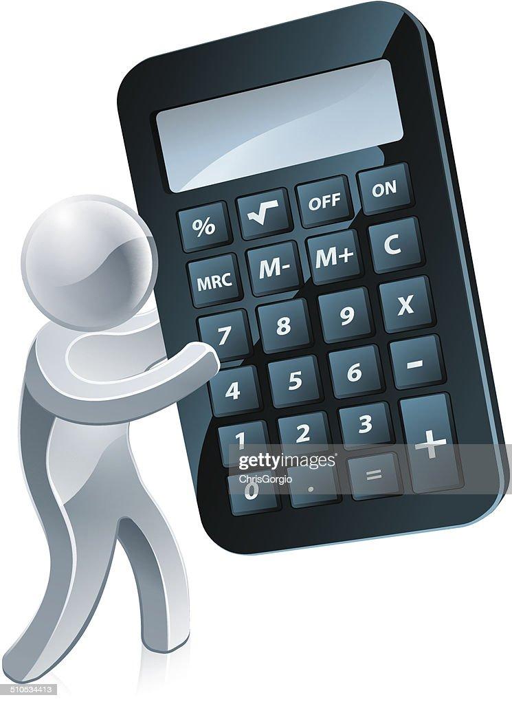 Silver mascot holding a calculator
