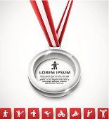 Silver medal template with red sporting icons