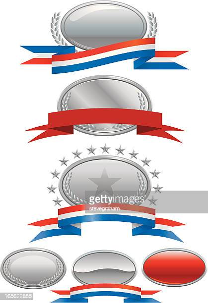 silver medallions, plaques and ribbons - medallion stock illustrations, clip art, cartoons, & icons