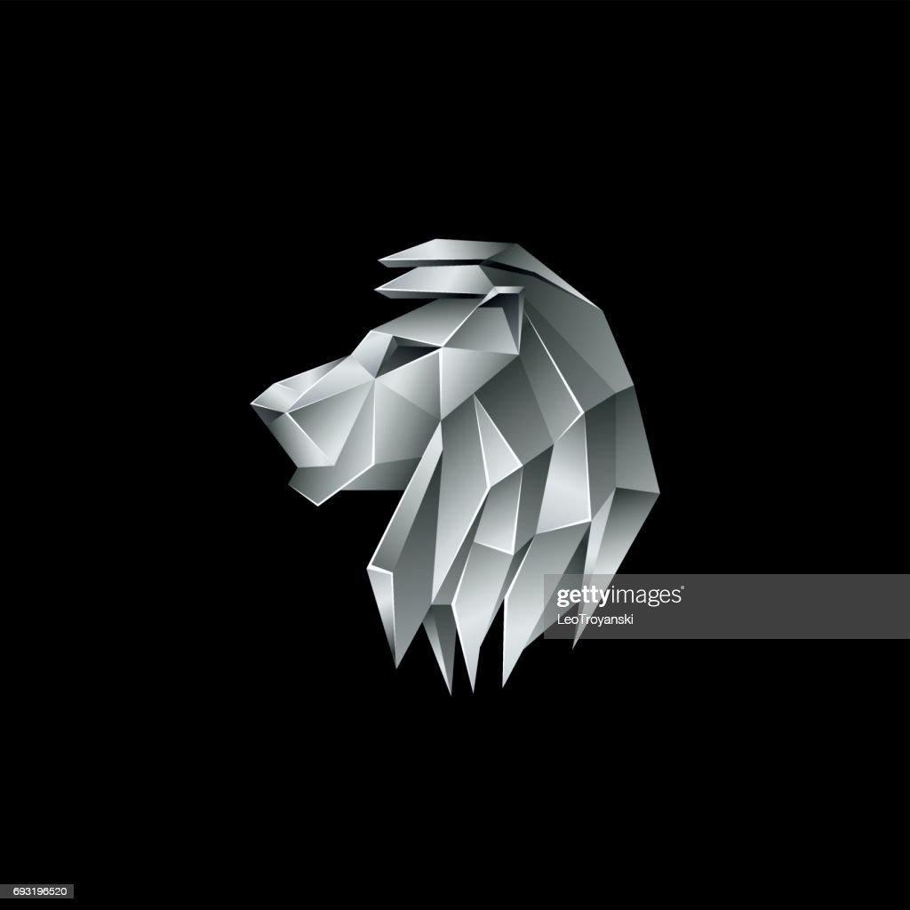 Silver metallic lion head. Polygon style lion emblem on a black background.