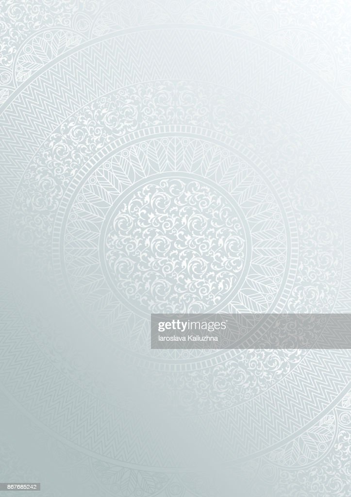 Silver round floral pattern gradient color. Vintage cover design template. Vector mandala poster soft detailed background