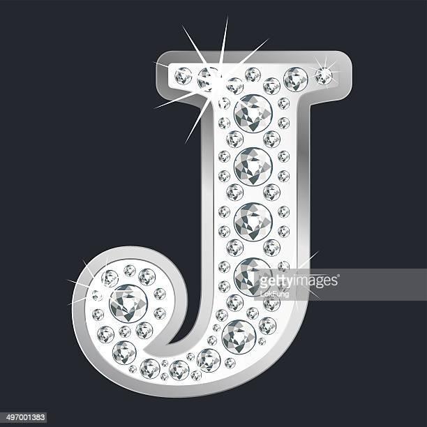 ilustrações de stock, clip art, desenhos animados e ícones de prata brilhante latina j com diamantes - letraj