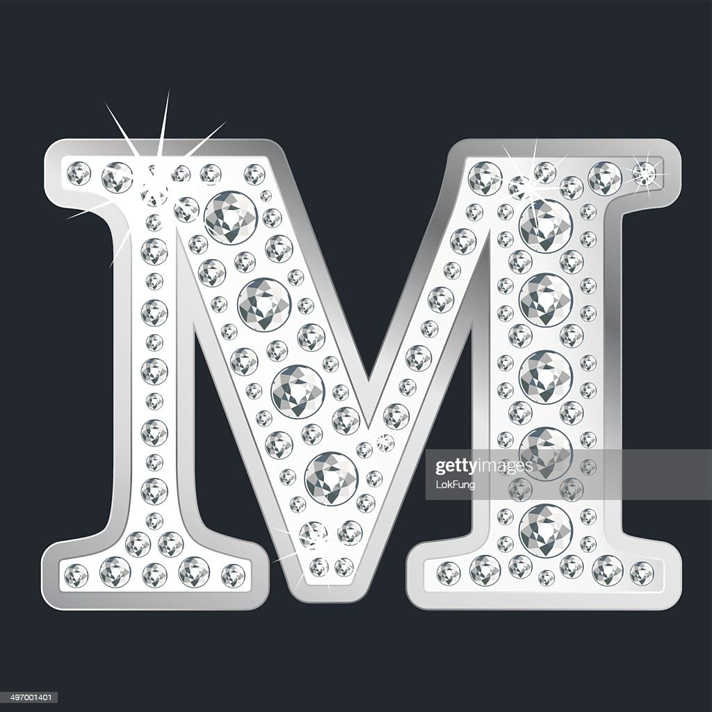 Silver Shining Letter M With Diamonds Vector Art