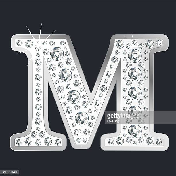 silver shining letter m with diamonds - letter m stock illustrations, clip art, cartoons, & icons