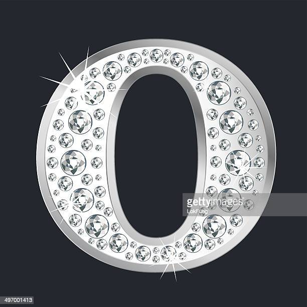 Silver shining Letter O with diamonds