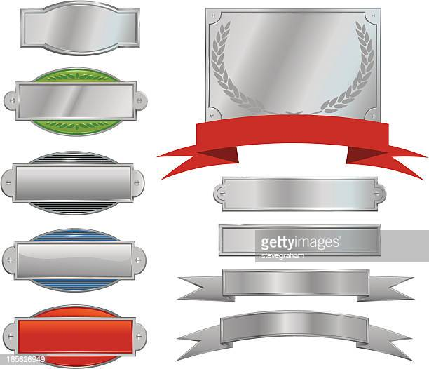 silver signs, plaques and ribbons - nameplate stock illustrations