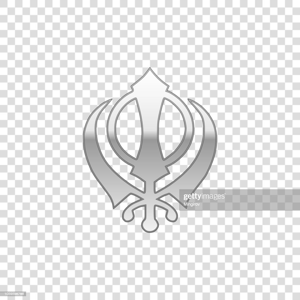 Silver Sikhism religion Khanda symbol isolated object on transparent background. Khanda Sikh symbol. Flat design. Vector Illustration