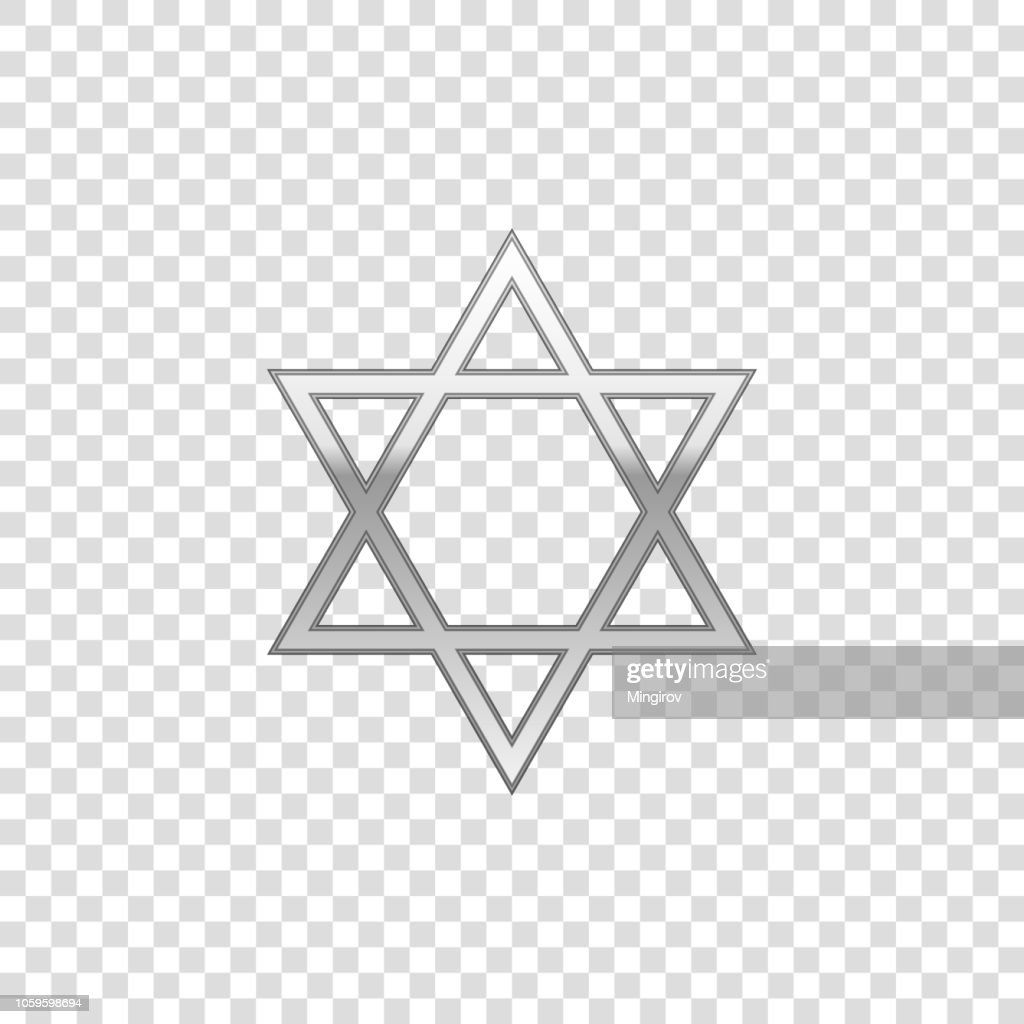 Silver Star of David isolated object on transparent background. Jewish religion symbol. Flat design. Vector Illustration