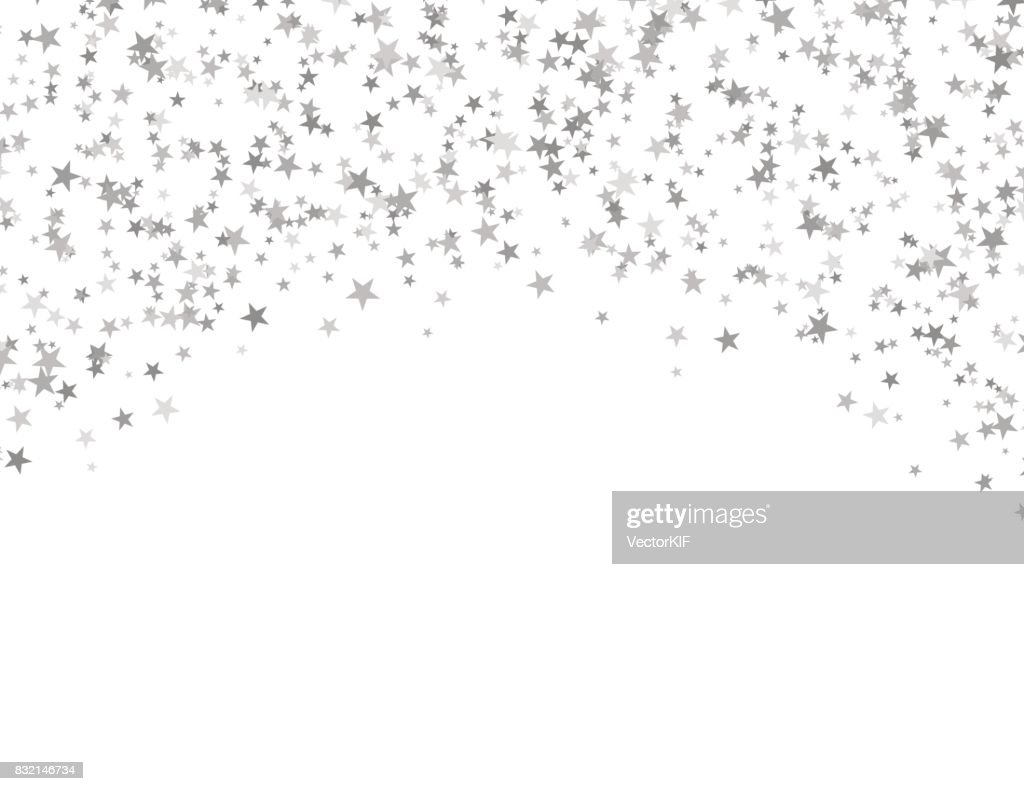 Silver stars falling from the sky. Abstract arc background. Glitter pattern for banner.
