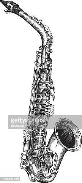 silver tenor saxophone on a white background - saxaphone stock illustrations, clip art, cartoons, & icons