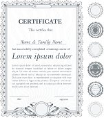 Silver vertical certificate template with additional design elements