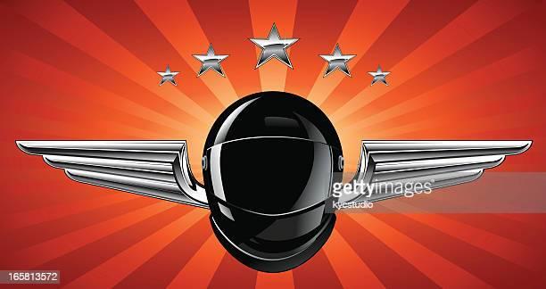 silver winged helmet racing emblem - motorcycle helmet stock illustrations, clip art, cartoons, & icons