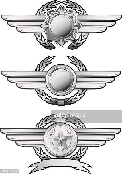 silver winged insignias - straight pin stock illustrations, clip art, cartoons, & icons