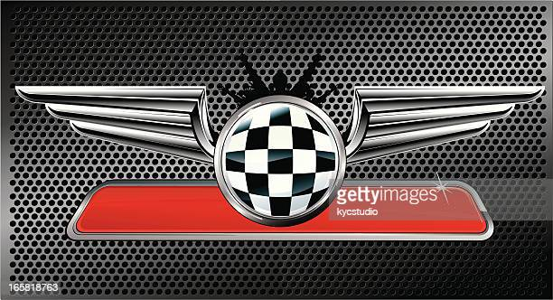 silver winged racing emblem - rally car racing stock illustrations, clip art, cartoons, & icons
