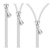 Silver Zip Set. Vector