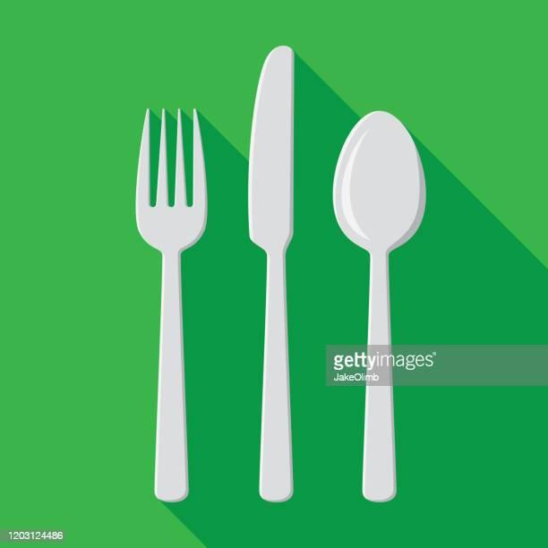 silverware icons flat set - breakfast cartoon stock illustrations