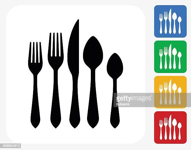 Silverware Set Icon Flat Graphic Design