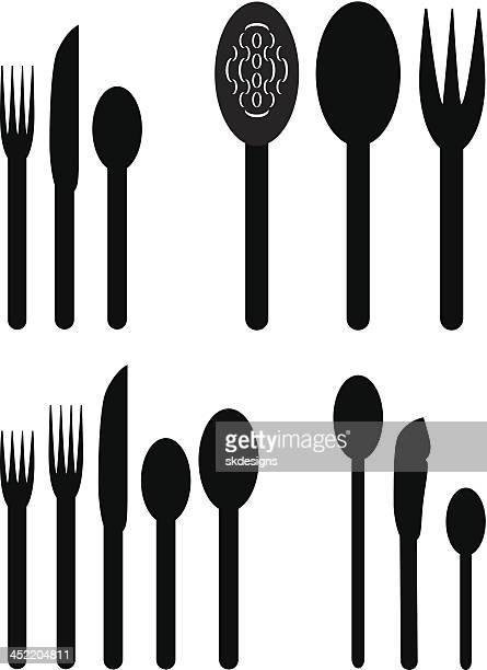 食器:テーブルのテーブルセッティングや食器をご用意 - ティースプーン点のイラスト素材/クリップアート素材/マンガ素材/アイコン素材