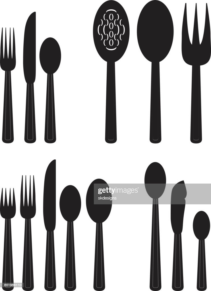 Silverware Two Classic Table Place Settings and Serving Utensils  Stock Illustration  sc 1 st  Getty Images & Silverware Two Classic Table Place Settings And Serving Utensils ...
