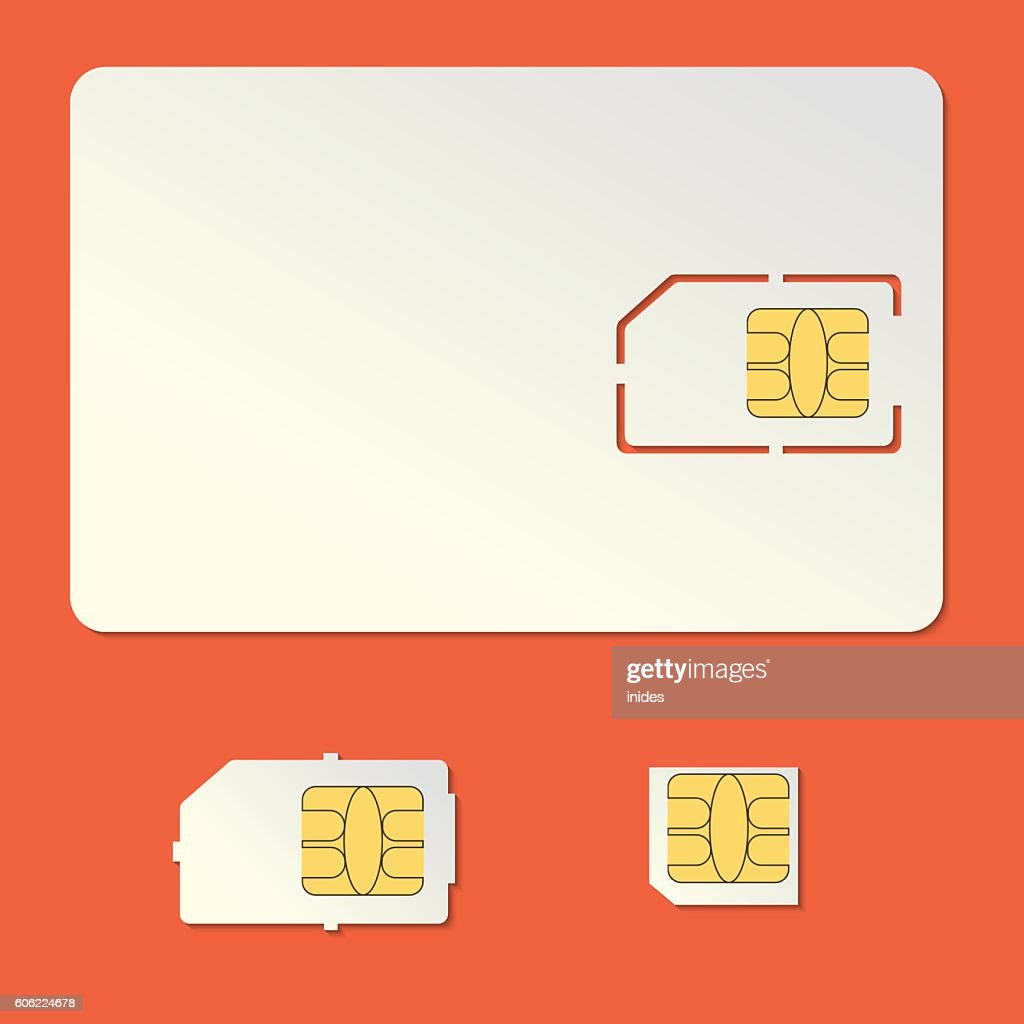 Sim card empty vector set. Cell phone chip.