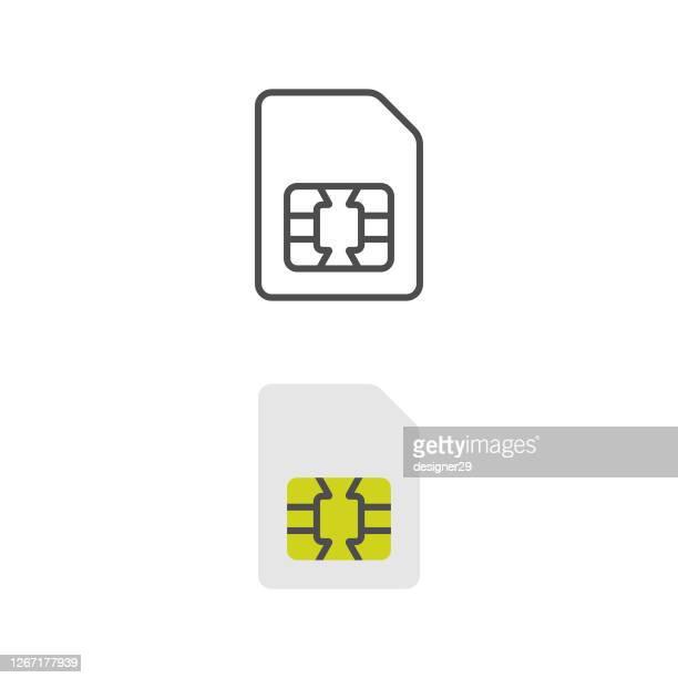 illustrazioni stock, clip art, cartoni animati e icone di tendenza di icona sim card design piatto. - chip del computer