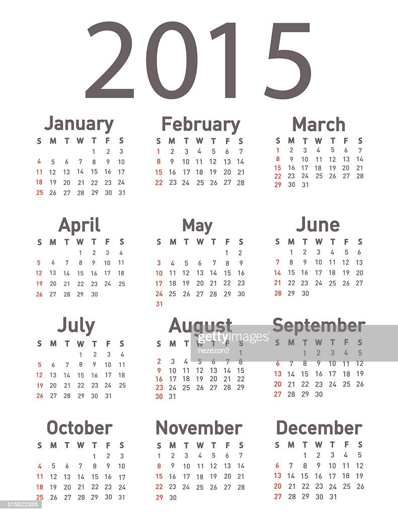 Simple 2015 year calendar